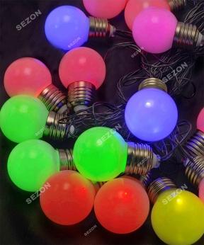 Купить ЛАМПОЧКИ 50мм матові, 20 LED, 7м,  мульті RB/RG