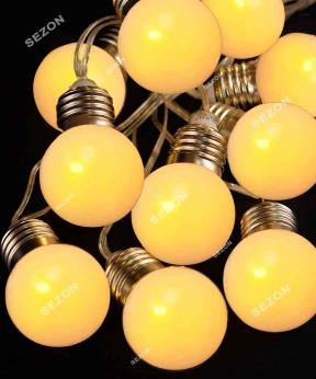 Купить ЛАМПОЧКИ 50мм матові, 20 LED проз/провід, 7м  білий теплий