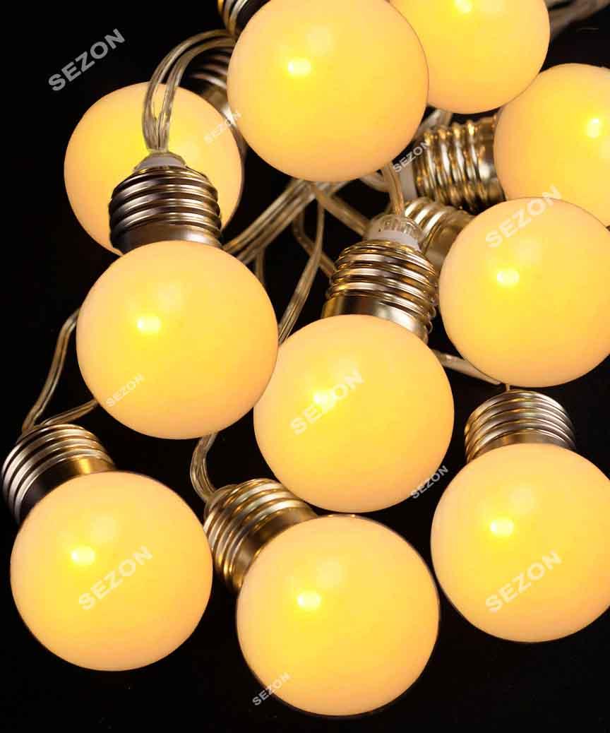 ЛАМПОЧКИ 50мм матові, 20 LED проз/провід, 7м  білий теплий