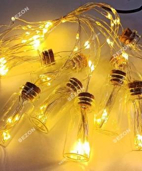 Купить БУТИЛОЧКИ-РОСА, 10шт, 100 LED 3м, теплий білий