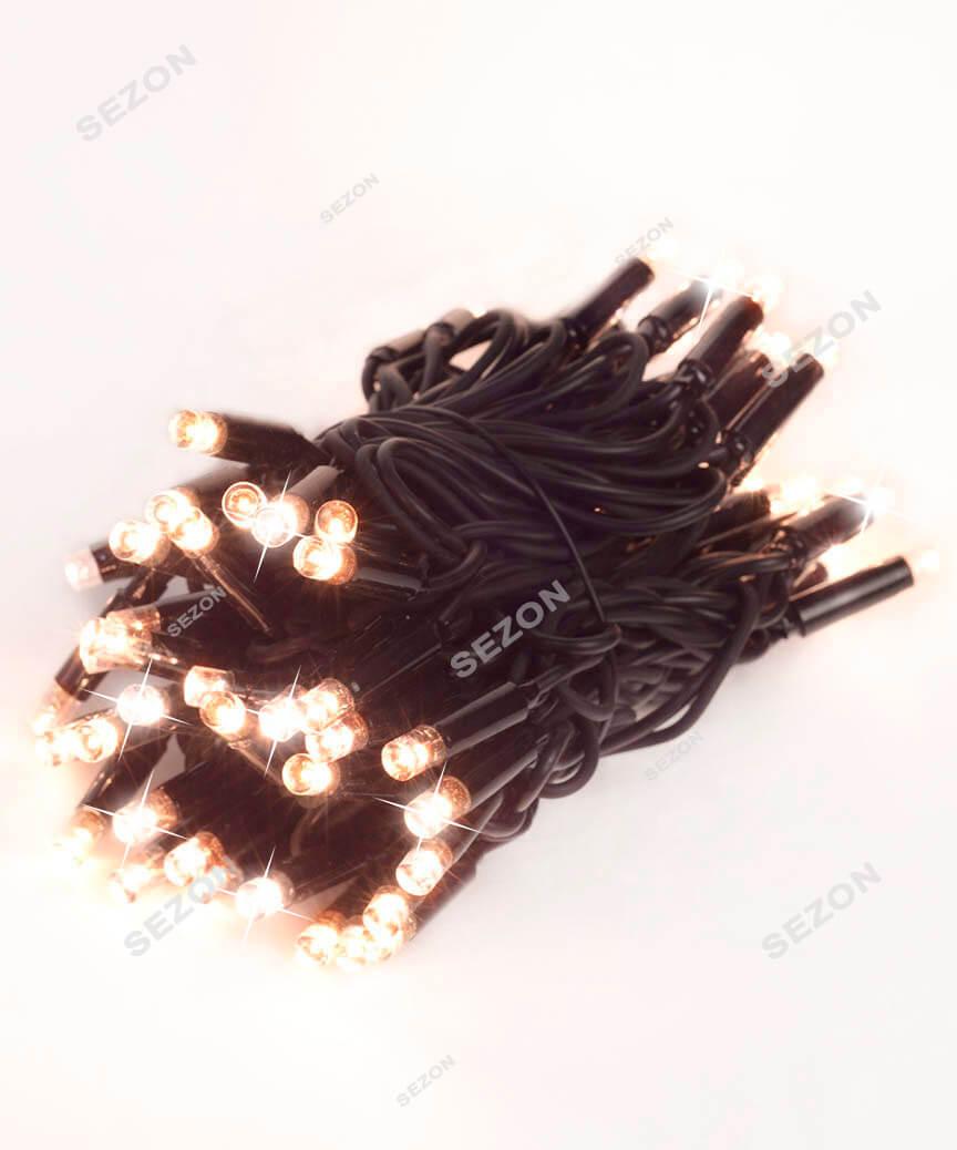 Вулична 100 LED+ FLASH  10м,  чорн/каучук  2мм, теплий білий