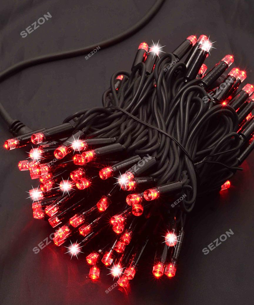 Вулична 100 LED,  10м,  чорний каучук 3,3мм, червоний+FLASH