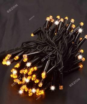 Купить Вулична 100 LED,  10м,  чорний каучук 3,3мм, жовтий+FLASH