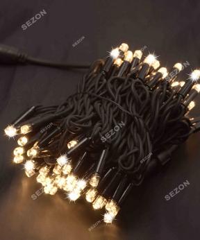 Купить Вулична 100 LED,  10м,  чорний каучук 3,3мм, теплий білий+FLASH