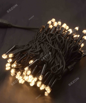 Купить Вулична 100 LED, 8м,  чорний каучук 3,3мм, теплий білий