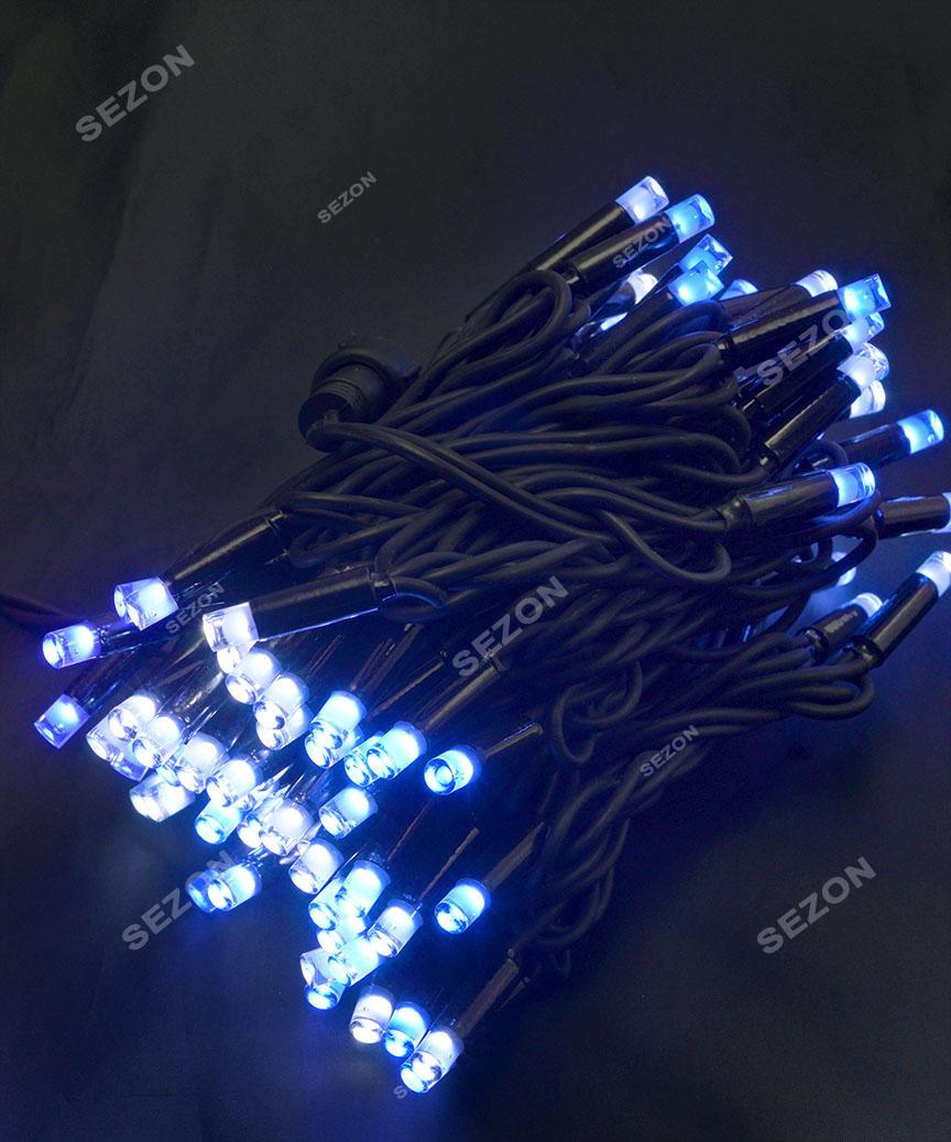 Вулична 100 LED,  10м,  чорний каучук 3,3мм, синьо-білий  BW
