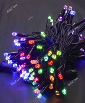 Купить Вулична 100 LED,  10м,  чорний каучук 3,3мм, мульті RB/RG