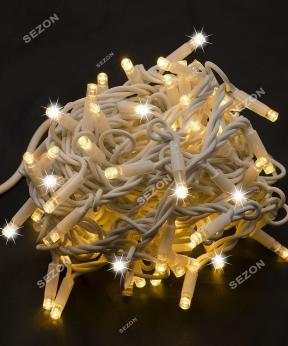 Купить Вулична 100 LED,  10м,  білий каучук 3,3мм, білий теплий+FLASH