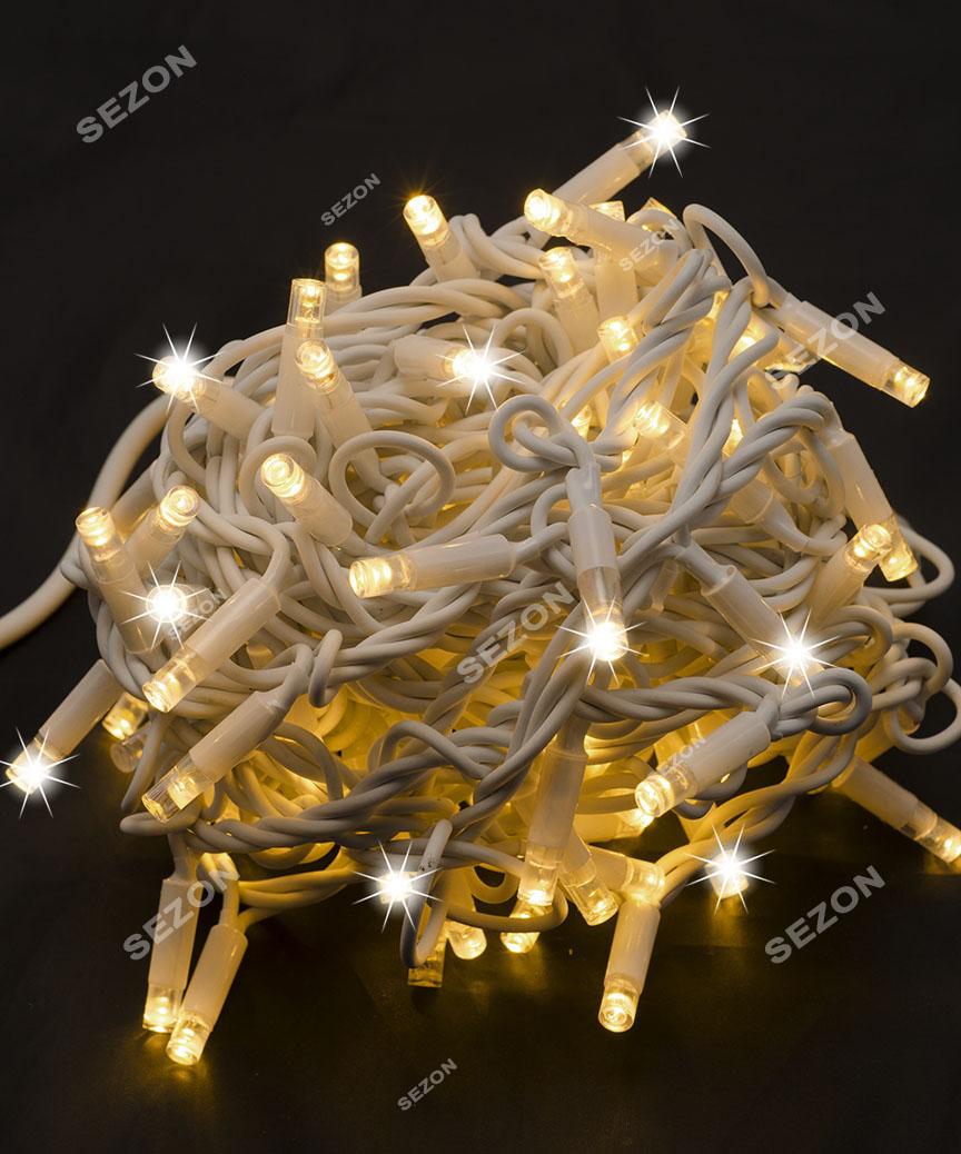 Вулична 100 LED,  10м,  білий каучук 3,3мм, білий теплий+FLASH