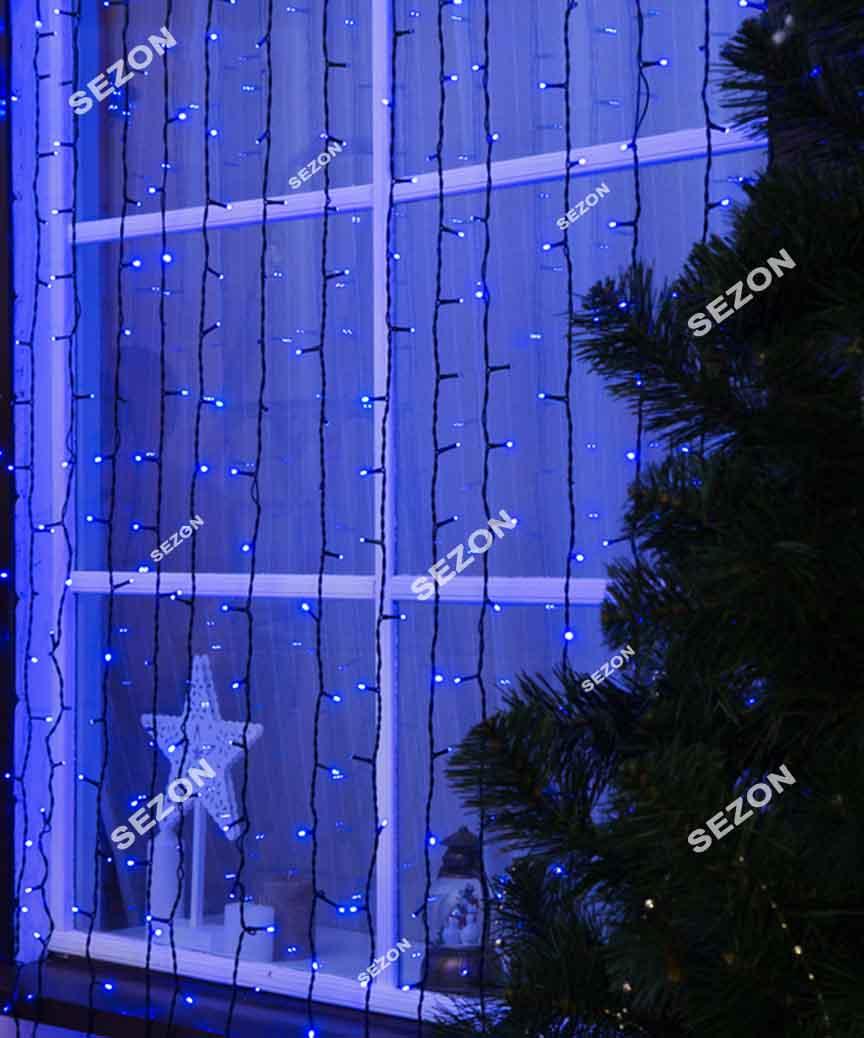 Штора 400LED  6м*1,5м   синій