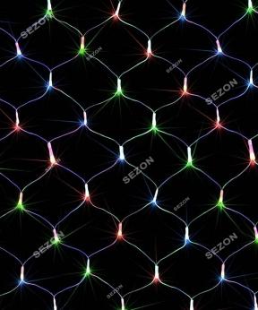 Купить Сітка 100 LED прозор. 1.2м*1.2м  мульті