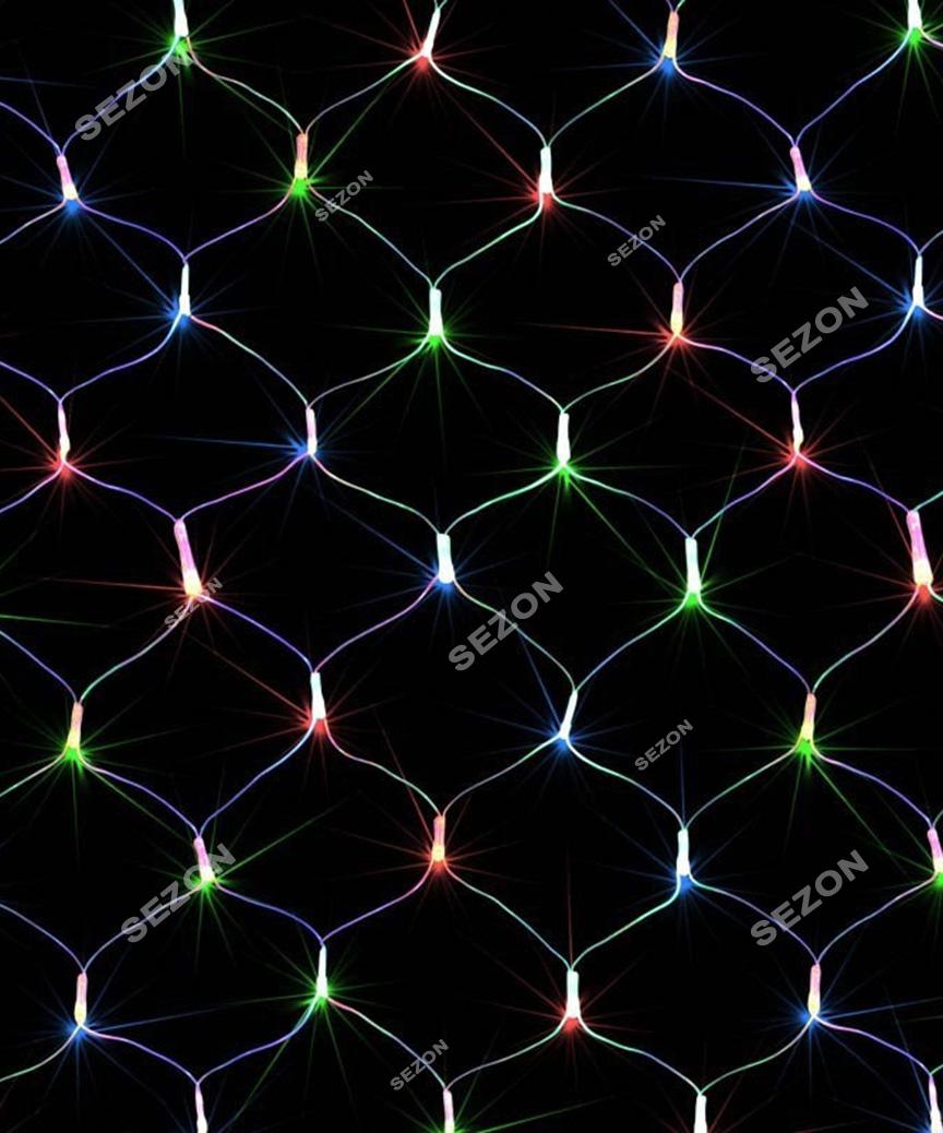 Сітка 100 LED прозор. 1.2м*1.2м  мульті