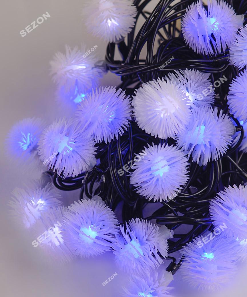 """Вуличні фігурки 40 LED """"ПУХНАСТИК"""", 7м+ перехідник, синьо-білий"""