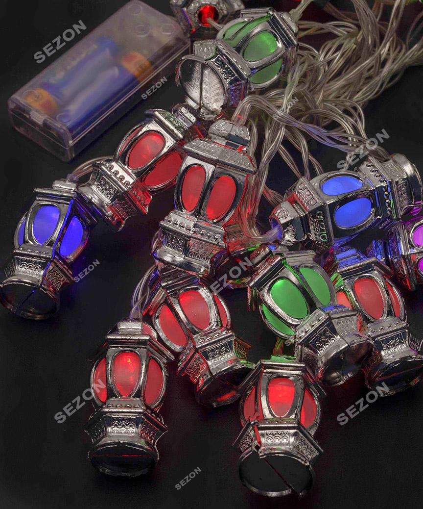 Фігурки  20 LED ЛІХТАРИК   НА БАТАРЕЙКАХ (+USB)  5м, мульті