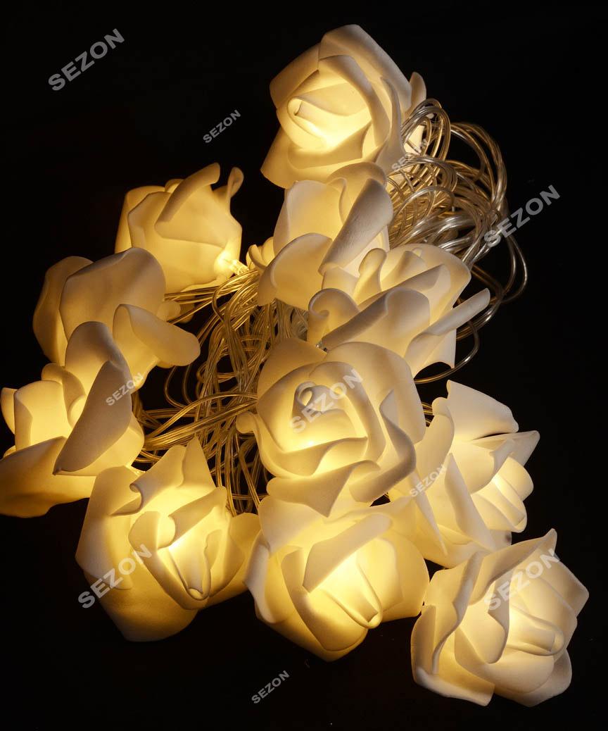 Фігурки  20 LED  на батарейках ,  КВІТИ, 5м теплий білий