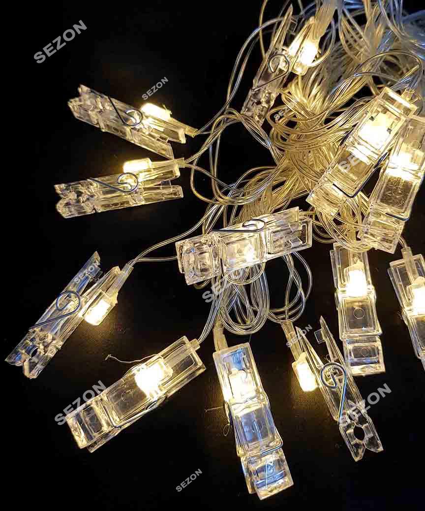 Фігурки  10 LED ПРИЩІПКИ на батарейках +USB, 3м,  теплий білий