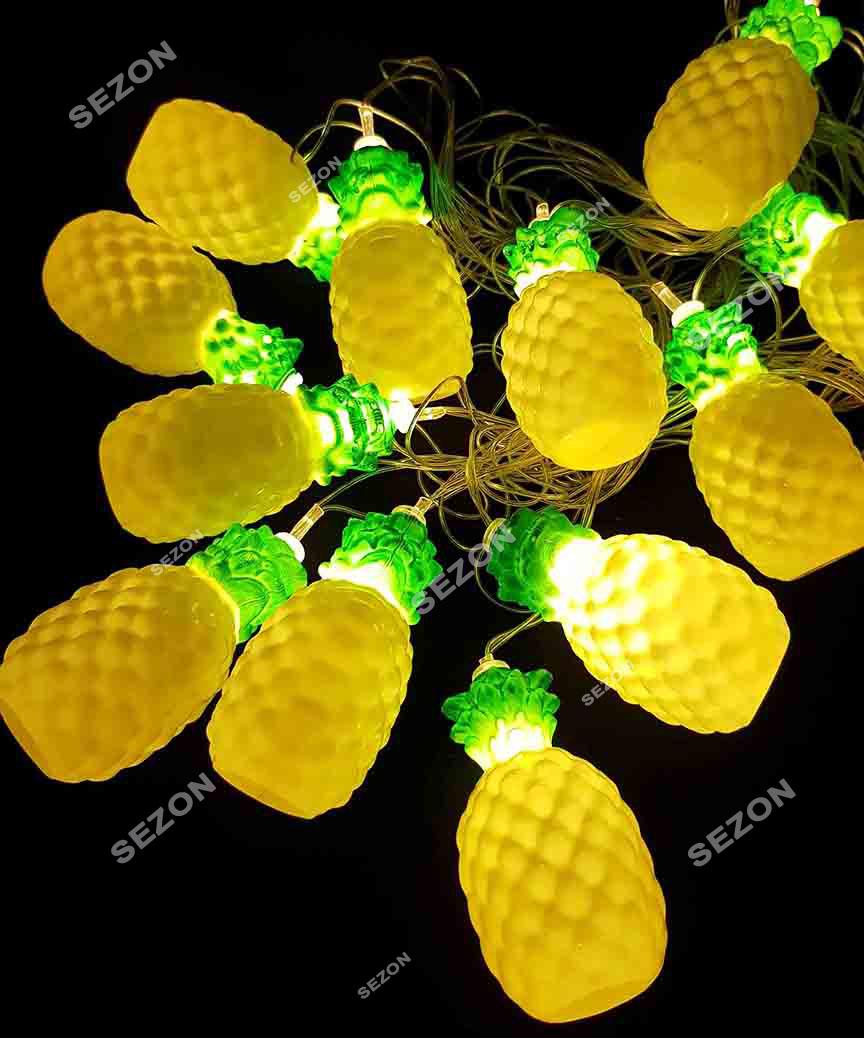 """Фігурки  12 LED, """"АНАНАС"""", 5м+ перехідник,  теплий білий"""