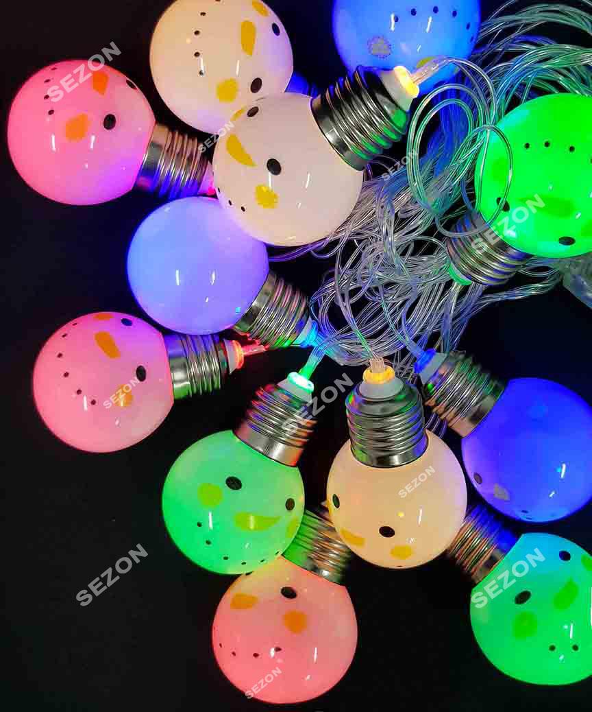 """Фігурки  12 LED, """"СНІГОВИК"""",  5м+ перехідник,  теплий білий"""