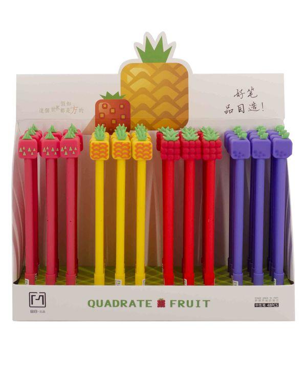 Ручка гелевая синяя 17076 фрукты (колп)