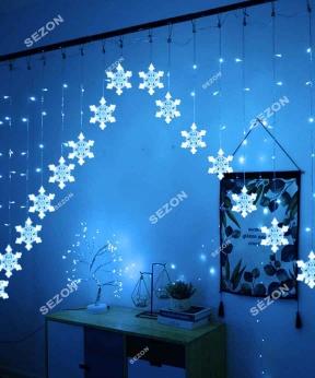 Купить Шторка-арка сніжинка 3м*1м,  синя
