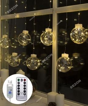 Купить Штора-кульки РОСА 10шт, USB+пульт  2,5м*0,8м. білий тепл