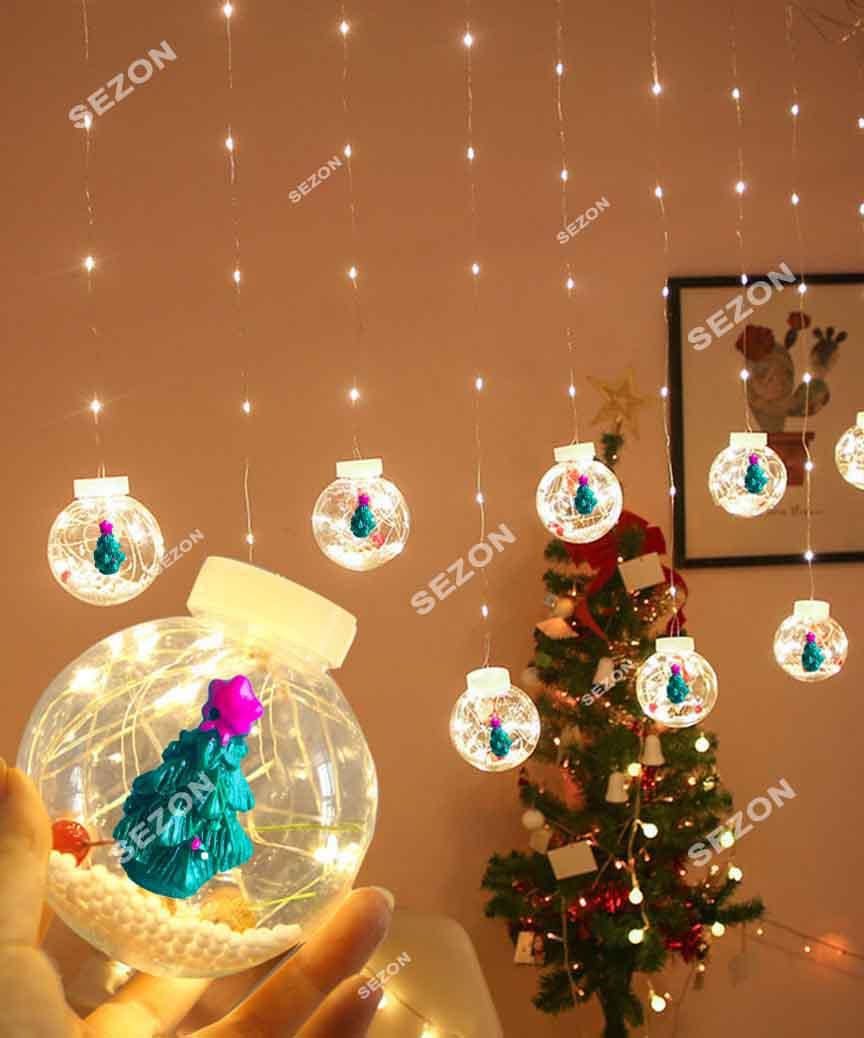Кульки-роса ЯЛИНКА 10шт, 3м*0,8м/ перехідник,  білий теплий