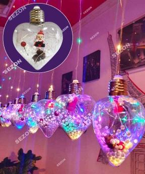 Купить Кульки  Дід Мороз в лампі 10шт, 3м*0,8м/ перехідник,  мульті