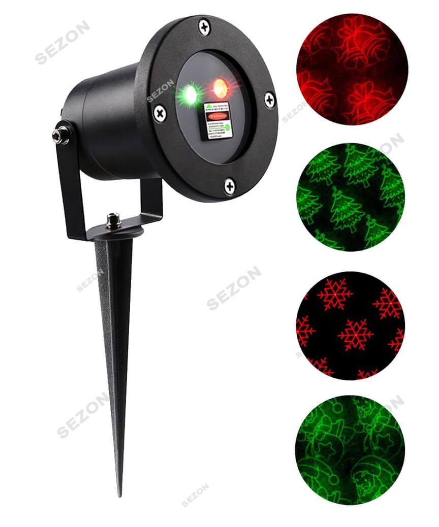 """Вуличний проектор+ пульт, метал.  """"4 новорічні фігури 417"""" (червоно- зелений)"""