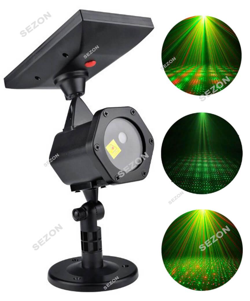 """Вул. проектор+ пульт на соняч/батар  """"КРАПКИ"""" (червоно-зелен.)"""