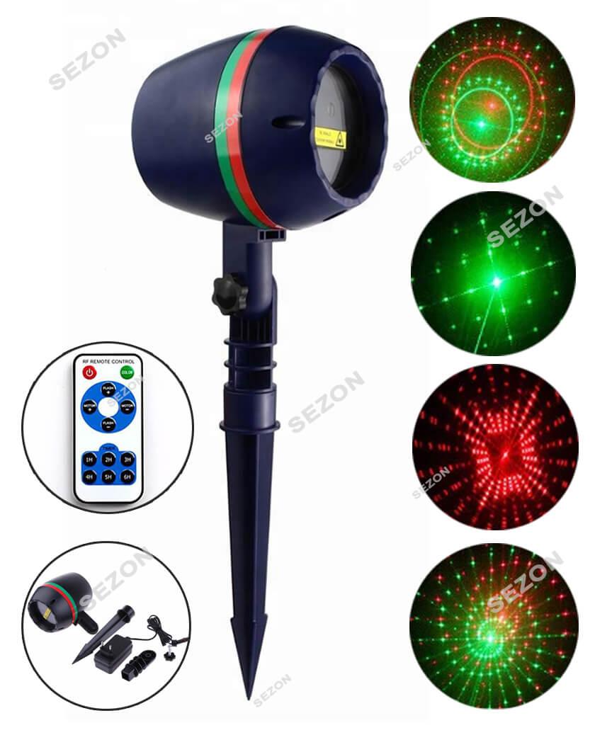 Вуличний проектор+ пульт, бочка  КРАПКИ 801 (червоно-зелен.)