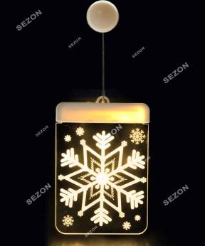 Купить 3Д  LED-підсвітка на батарейках, сніжинка
