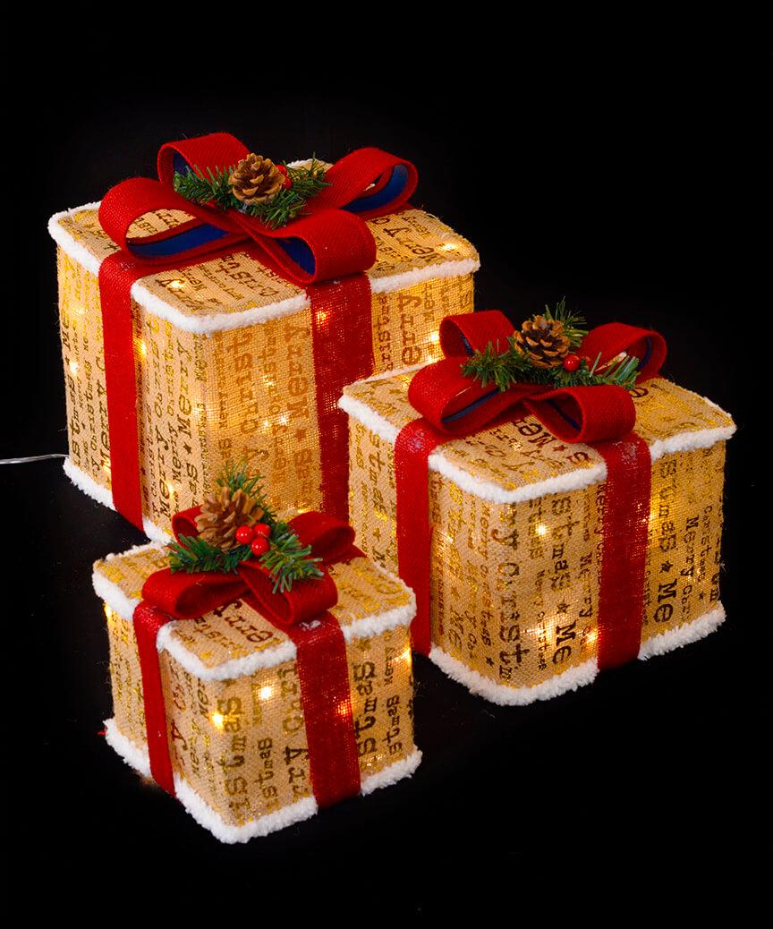 Подарунки  LED,  45 см  золотий з білим