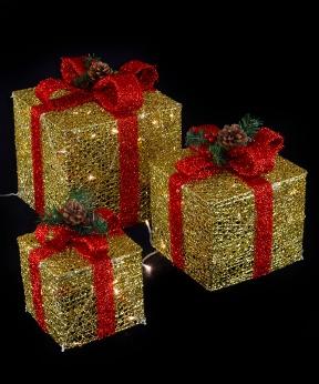 Купить Подарунки  LED,  45 см  золотий з червоним