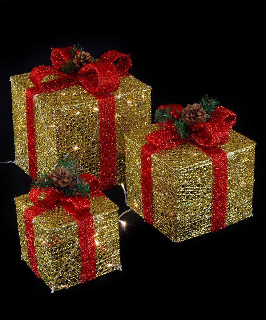 Подарунки  LED,  45 см  золотий з червоним