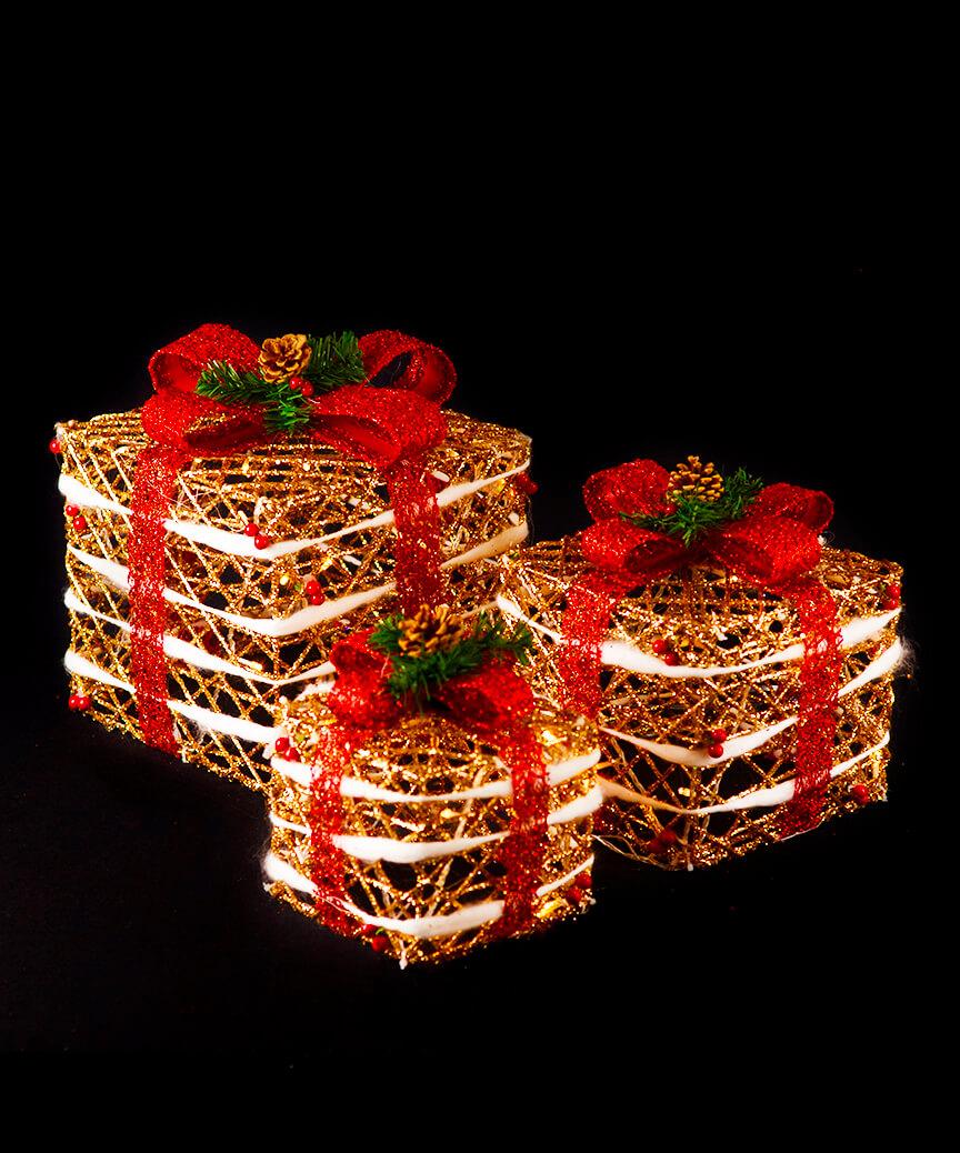 Подарунки  LED 3шт,  45 см  золотий 19-050-G