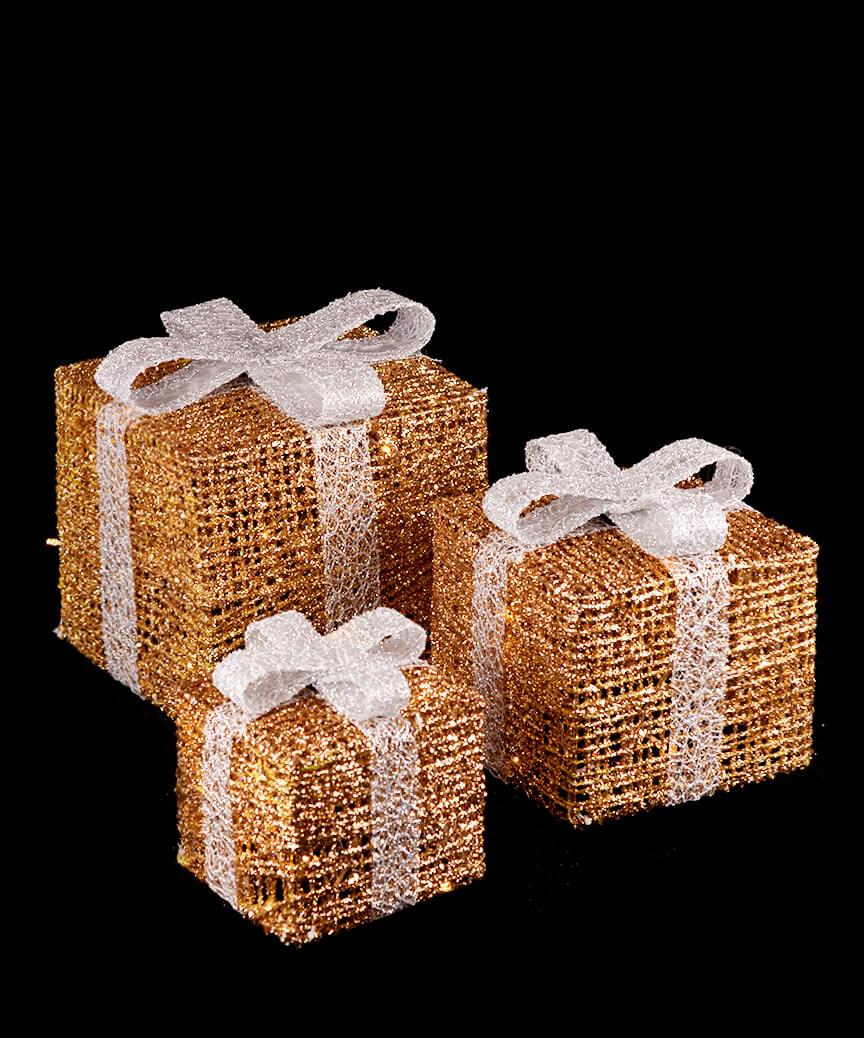 Подарунки  LED 3шт,  45 см  золотий 19-048-G