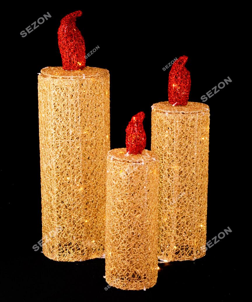 Свічки 3шт,  40-60см золото 19-102-60-G