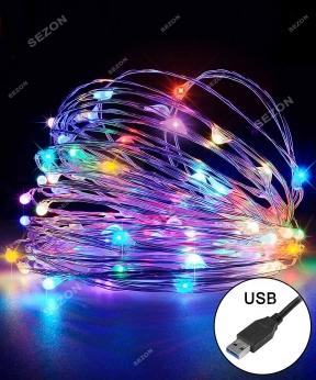 Купить РОСА 100 LED, 220В + USB, 10м, мульті +FLASH