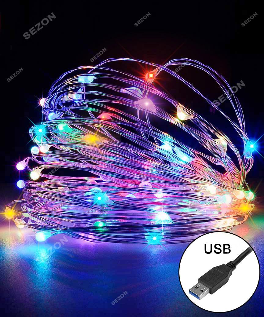 РОСА 100 LED, 220В + USB, 10м, мульті +FLASH
