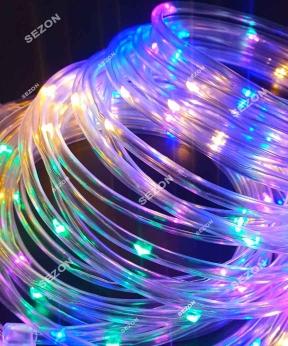 Купить РОСА в силіконовій трубці 100 LED, 220В  10м, мульті RGB