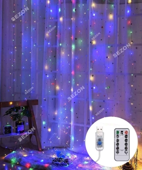 Купить ШТОРА-РОСА 144л 1,8м*1,2м, USB/пульт, мульті