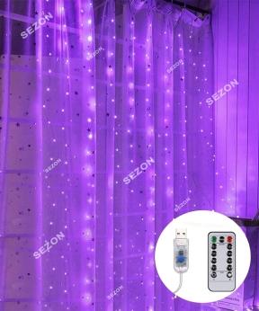 Купить ШТОРА-РОСА 144л 1,8м*1,2м, USB/пульт, фіолетовий