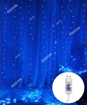 Купить ШТОРА-РОСА 200л (10 ліній) 3м*2м статична/ USB,  синій