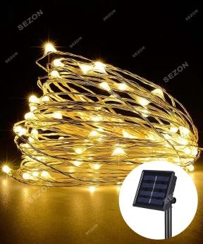 Купить РОСА на соняч батареї 200 LED, 20м, теплий білий