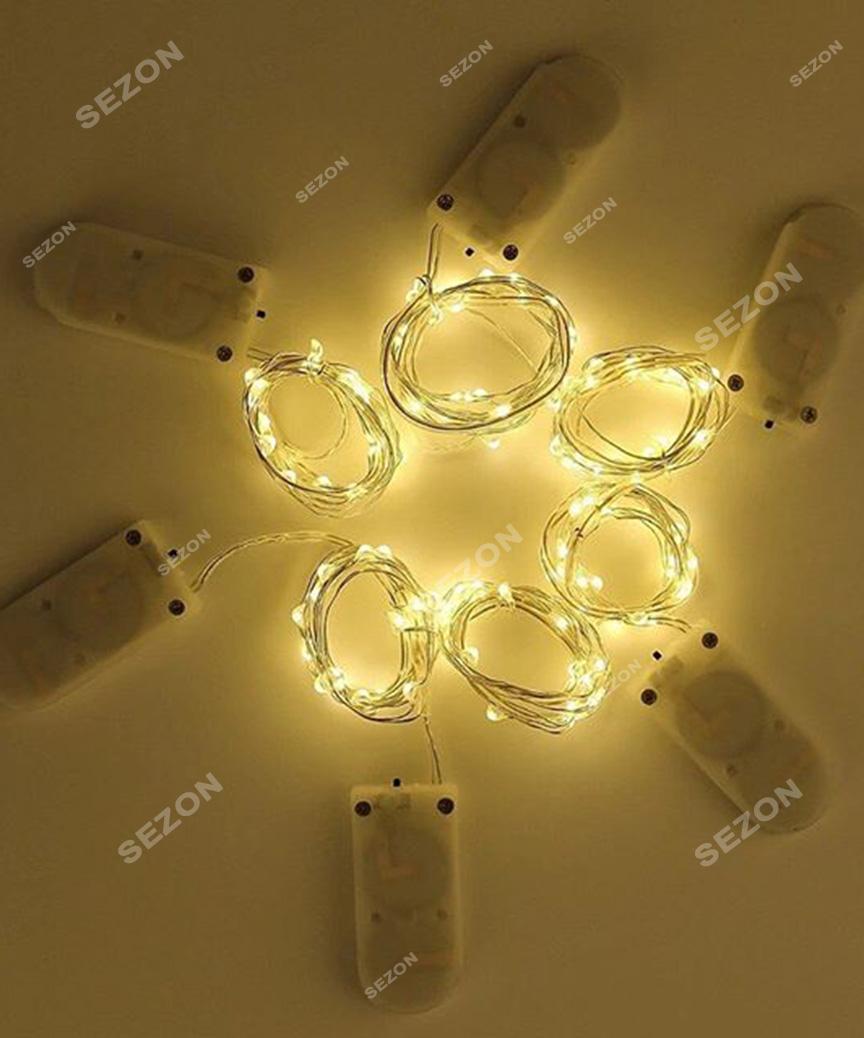 Роса 30 LED на мікро батарейках з режимами, 3м, білий теплий