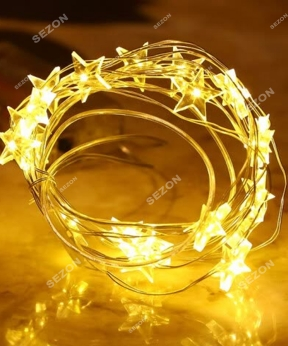 Купить Фігурки-роса зірочки, 20 LED, 2м, білий теплий