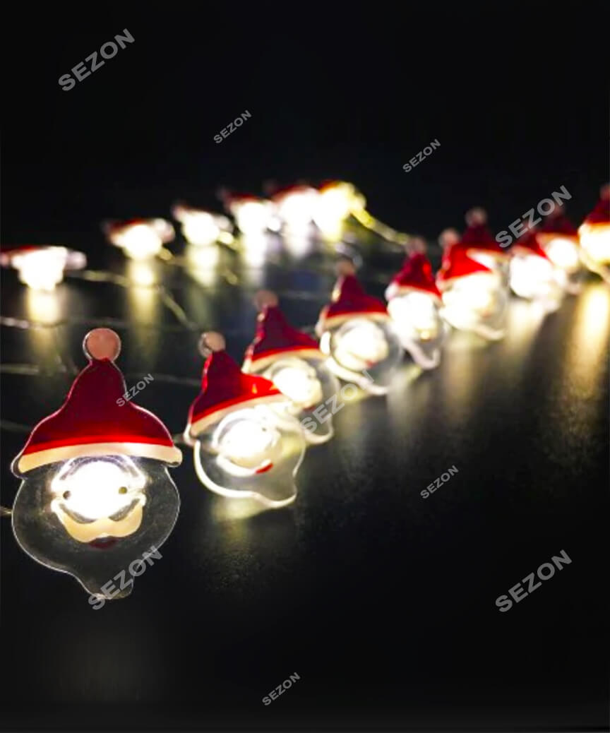 Фігурки-роса дід мороз, 20 LED, 2м, білий теплий