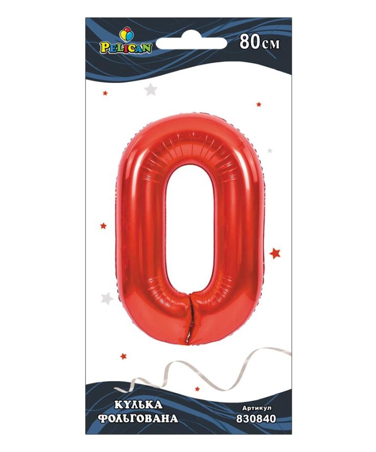 """Цифра фольг. Pelican, """"0"""" красная 80см, (индивидуальная упак.)"""