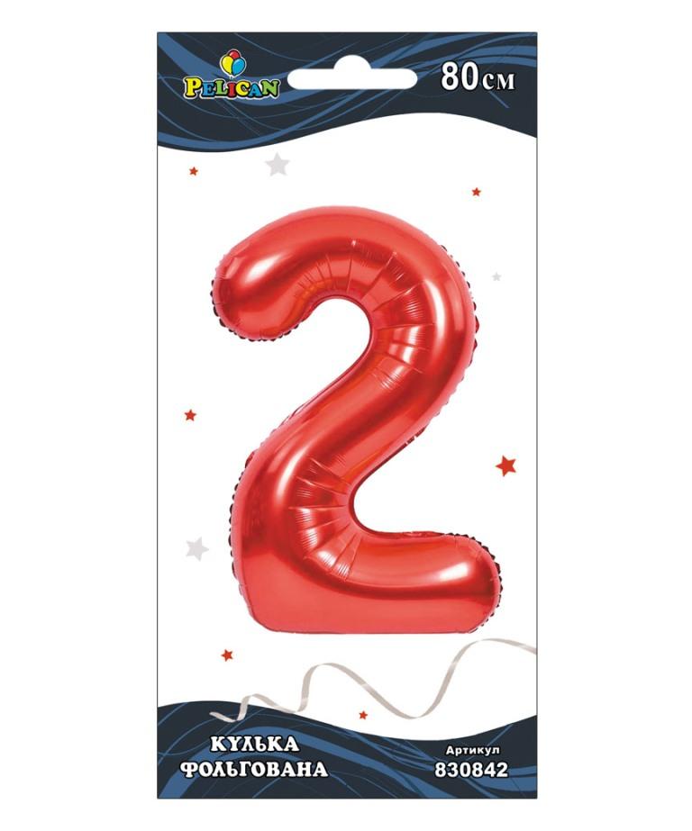 """Цифра фольг. Pelican, """"2"""" красная 80см, (индивидуальная упак.)"""