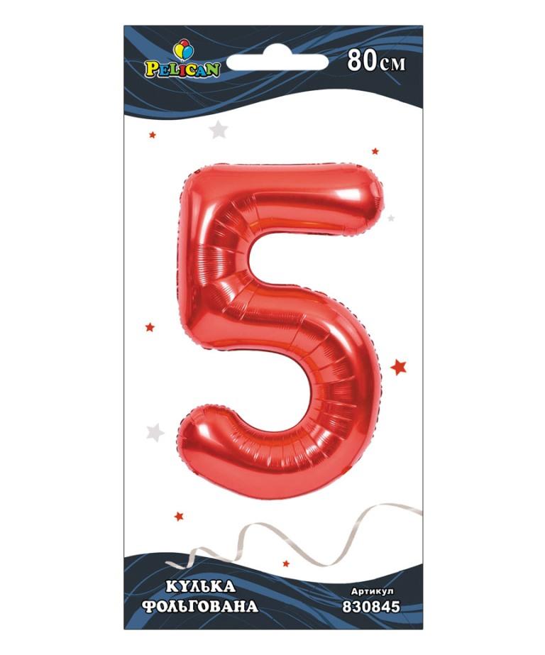 """Цифра фольг. Pelican, """"5"""" красная 80см, (индивидуальная упак.)"""